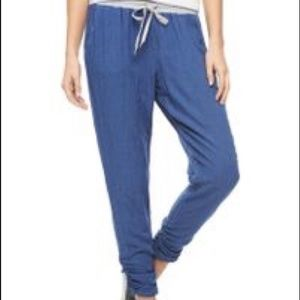 Splendid ruched bottom blue and grey joggers